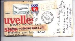 TP PA42 + 1354B SUR JOURNAL RECOMMANDEE POUR POSTE RESTANTE PARIS / 13.6.68 + MARQUE: ADMISSION DES IMPRIMES SUSPENDUE . - Marcophilie (Lettres)