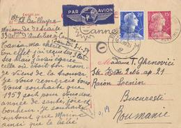 CARTE / ENTIER POSTAL : MARIANNE De MULLER - ENVOI De CANNES à BUCAREST En JANVIER 1959 - PAR AVION (aa226) - Ganzsachen