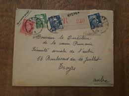 1947 - Recommandé - Hyeres TAD - Affranchissement 14F - Marianne De Gandon 2x5F, 3F, 1F Cérès De Mazelin, Troyes - Briefe U. Dokumente