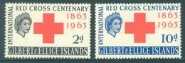 GILBERT ELLICE -  MNH/** - 1963 - RED CROSS - Yv 75-76 -  Lot 18272 - Îles Gilbert Et Ellice (...-1979)