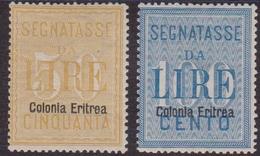 398 – Eritrea * 1903 – Segnatasse N. 12/13. Cert. Biondi. Cat. € 1625,00. SPL - Eritrea