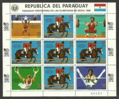PARAGUAY 1988 OLYMPICS SEOUL SPORT HORSES WEIGHTLIFTING GYMNASTICS SHEETLET MNH - Paraguay