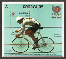 PARAGUAY 1988 OLYMPICS SEOUL CYCLING BICYCLE M/SHEET MNH - Paraguay