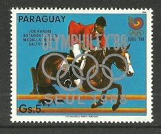 PARAGUAY 1988 OLYMPICS SEOUL HORSES OLYMPHILEX OVERPRINT SINGLE MNH - Paraguay