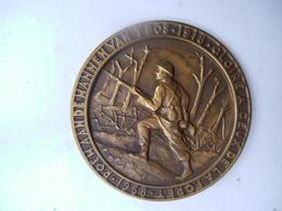 Bronzen Plaket Roem Aan De Mannen 't Bos 1918 - 1914-18