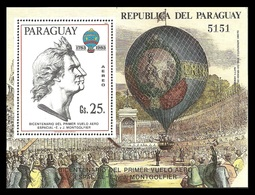 PARAGUAY 1983 AIRCRAFT MONTGOLFIER BALLOONS M/SHEET MNH - Paraguay
