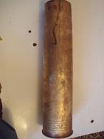 """ANCIENNE DOUILLE D'OBUS EN BRONZE-75 DEC- INSCRIPTION - """" HONNEUR AUX POILUS-1914-+15+16. SOUVENIR DE FROIDOS- BM. - Bronzes"""