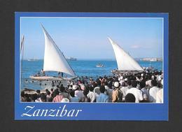ZANZIBAR - AFRICA - AFRIQUE - NGALAWA (OUTRIGGER) RACE ZANZIBAR - PHOTO AND DESIGN J.B. DA SILVA  BY JOHN HINDE ORIGINAL - Cartes Postales
