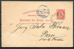 1893 Norway Stationery Postcard  BUREAU REEXPEDITION CHRISTIANIA - Paris France - Norway