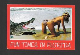 HUMOUR - PIN UPS - FUN TIMES IN FLORIDA - JOLIE FILLE ATTAQUÉE PAR UN CROCODILE - Humour