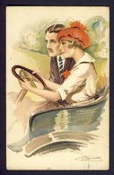 Couple Man And Woman Driving Convertible Car - Amours, Delices ...et Autos - Suzanne Meunier A/s Serie No. 49 - 1 - Meunier, S.