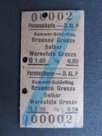 FAHRKARTE Kammer Schörfling - Braunau Grenze Selker Wernstein 1948 Österreich   ///  D*35532 - Bahn