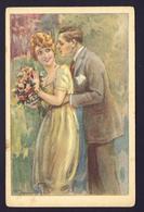 Romantic Romance Man Woman Flowers - Bompard ?? Artist Signed - Illustrators & Photographers