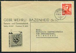 1943 Switzerland Gebr. Wehrli, Bazenheid Illustrated Advertising Cover - St Gallen. 1942 Pro Juventute 10+5c - Pro Juventute