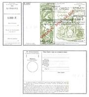 Mandat Lettre De Crédit 1000F Paris Chèques Spécimen Sans Valeur Avec Timbre à Sec - Assegni & Assegni Di Viaggio