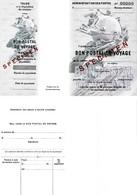 Bon Postal De Voyage Spécimen Avec Timbre à Sec - Chèques & Chèques De Voyage