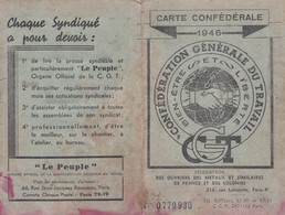 CGT, Carte Confédérale, Syndicat Des Métaux, Carte De Membre 1946 - Mappe