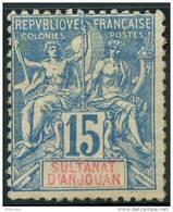 Anjouan (1892) N 6  * (charniere) - Anjouan (1892-1912)