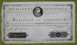 Bel Assignat 50 Livres Portrait De Louis XVI Du 29 Septembre 1790 Cf Lafaurie N°129 Signé FARGUES - Assignats & Mandats Territoriaux