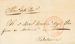 Sobre . 1848. BARCO DE VALDEORRAS (ORENSE) A BETANZOS. Baeza BARCO D. VALDS. / LEON, En Rojo. MAGNIFICA. - Spain