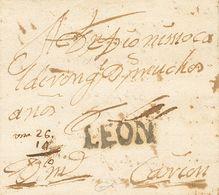 Sobre . (1757ca). Dirigida A CARRION DE LOS CONDES (PALENCIA). Marca LEON, En Negro Que En Nuestra Opinión Podría Tratar - Spain