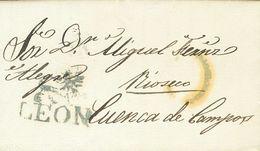 Sobre . 1838. LEON A CUENCA DE CAMPOS. Marca LEON, En Azul (P.E.8) Edición 2004. MAGNIFICA. - Spain
