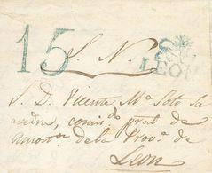 Sobre . 1842. SANTA EULALIA DE LAS MANZANAS (LEON) A LEON. Marca LEON, En Azul Aplicada A La Llegada (P.E.8) Edición 200 - Spain