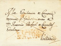 Sobre . (1830ca). SAHAGUN (LEON) A VALLADOLID. Marca FRANCO / SAGUN, En Rojo (P.E.4) Edición 2004. MAGNIFICA Y RARISIMA. - Spain