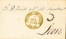 Sobre . 1844. VILLAFRANCA DEL BIERZO A LEON. Baeza VILLAFCª D.V. / LEON, En Verde. MAGNIFICA Y MUY RARA. - Spain