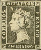 """(*)1A. 1850. 6 Cuartos Negro (Tipo II-16). Variedad """"Puntito De Tinta"""", A La Altura De La Cabeza. MAGNIFICO. Cert. GRAUS - Spain"""