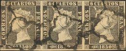 º1A(3). 1850. 6 Cuartos Negro, Tira De Tres. BONITA. Edifil 2014: 265 Euros - Spain