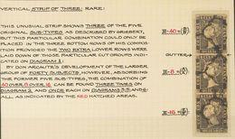 º1A. 1850. 6 Cuartos Negro, Tira De Tres Que Corresponde A Los Cinco Suptipos Mencionados Por Griebert Y Después Por Gue - Spain