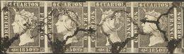 º1A(4). 1850. 6 Cuartos Negro, Tira De Cuatro (un Sello Margen Corto). MAGNIFICA E INUSUAL UN MULTIPLO DE ESTE TAMAÑO. E - Spain