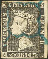 º1. 1850. 6 Cuartos Negro (I-15), Borde De Hoja. Matasello ARAÑA, En Azul. PIEZA DE LUJO. Edifil 2014: +++120 Euros - Spain