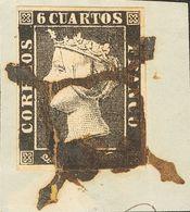 Fragmento 1A. 1850. 6 Cuartos Negro, Sobre Fragmento. Matasello ARAÑA, En Tinta De Escribir. MAGNIFICO. - Spain