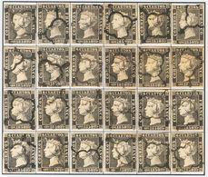 º1(24). 1850. Reconstrucción Completa Del 6 Cuartos Negro, Incluyendo Los Veinticuatro Tipos De La Plancha I E Inutiliza - Spain
