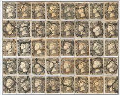 º1A(40). 1850. Reconstrucción Completa Del 6 Cuartos Negro, Incluyendo Los Cuarenta Tipos De La Plancha II E Inutilizado - Spain