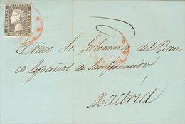 Sobre 1. 1850. 6 Cuartos Negro. VITORIA A MADRID. Matasello Baeza *** / VITORIA. MAGNIFICA. - Spain