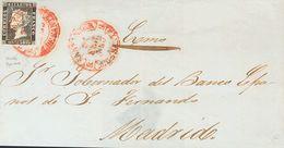 Sobre 1. 1850. 6 Cuartos Negro. SANTANDER A MADRID. Matasello Baeza SANTANDER / M. DE SANTR. MAGNIFICA Y ESPECTACULAR ES - Spain