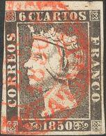 º1. 1850. 6 Cuartos Negro (I-1), Borde De Hoja. Matasello Baeza. MAGNIFICO. - Spain