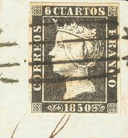 Fragmento 1. 1850. 6 Cuartos Negro, Sobre Fragmento. Matasello PARRILLA DE MADRID. MAGNIFICO. - Spain