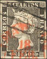 º1A. 1850. 6 Cuartos Negro. Matasello Mixto PARRILLA DE MADRID Y Baeza De Madrid. MAGNIFICO. - Spain