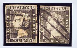 º1, 1A. 1850. Conjunto De Dos Sellos Del 6 Cuartos Negro De La Plancha I Y II E Inutilizados Con El Matasello PARRILLA D - Spain