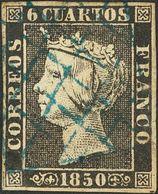 º1. 1850. 6 Cuartos Negro. Matasello PARRILLA DE LERIDA, En Azul. MAGNIFICO. Cert. CEM. - Spain