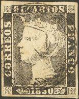 º1A. 1850. 6 Cuartos Negro (II-38). Matasello CORONA DE LAUREL, En Negro. MAGNIFICO Y RARO CON ESTA EXCEPCIONAL ESTAMPAC - Spain