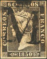 """º1. 1850. 6 Cuartos Negro (I-5). Matasello """"M"""" Coronada, En Negro De Madrid. MAGNIFICO Y RARO. - Spain"""