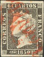 º1A. 1850. 6 Cuartos Negro. Matasello CASTILLA / LA NUEVA. MAGNIFICO Y RARO EN LA PLANCHA II. - Spain