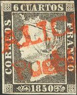 º1. 1850. 6 Cuartos Negro (I-4). Matasello Prefilatélico GALICIA / PUEBLA, En Rojo. MAGNIFICO E INUSUAL EN LA PLANCHA I. - Spain