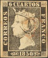 º1A. 1850. 6 Cuartos Negro (II-17). Matasello Prefilatélico ONTANEDA (poco Legible Como Es Habitual). MAGNIFICO. Cert. G - Spain