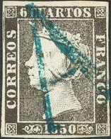 """º1. 1850. 6 Cuartos Negro. Matasello """"A"""", En Azul De Avila. MAGNIFICO. - Spain"""
